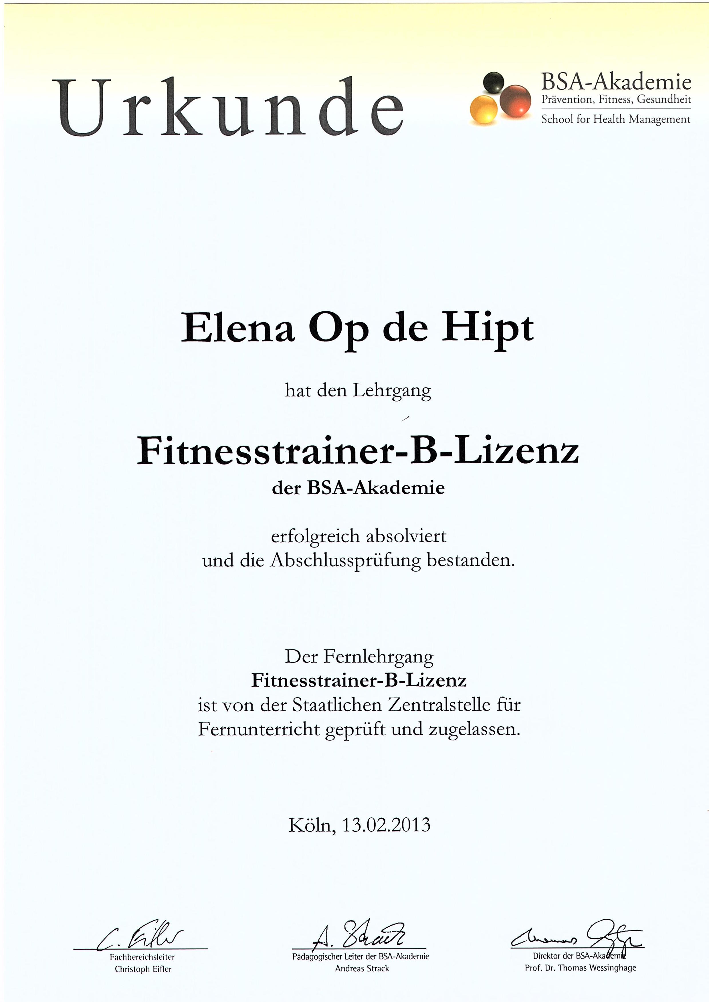Fitness trainer B-License