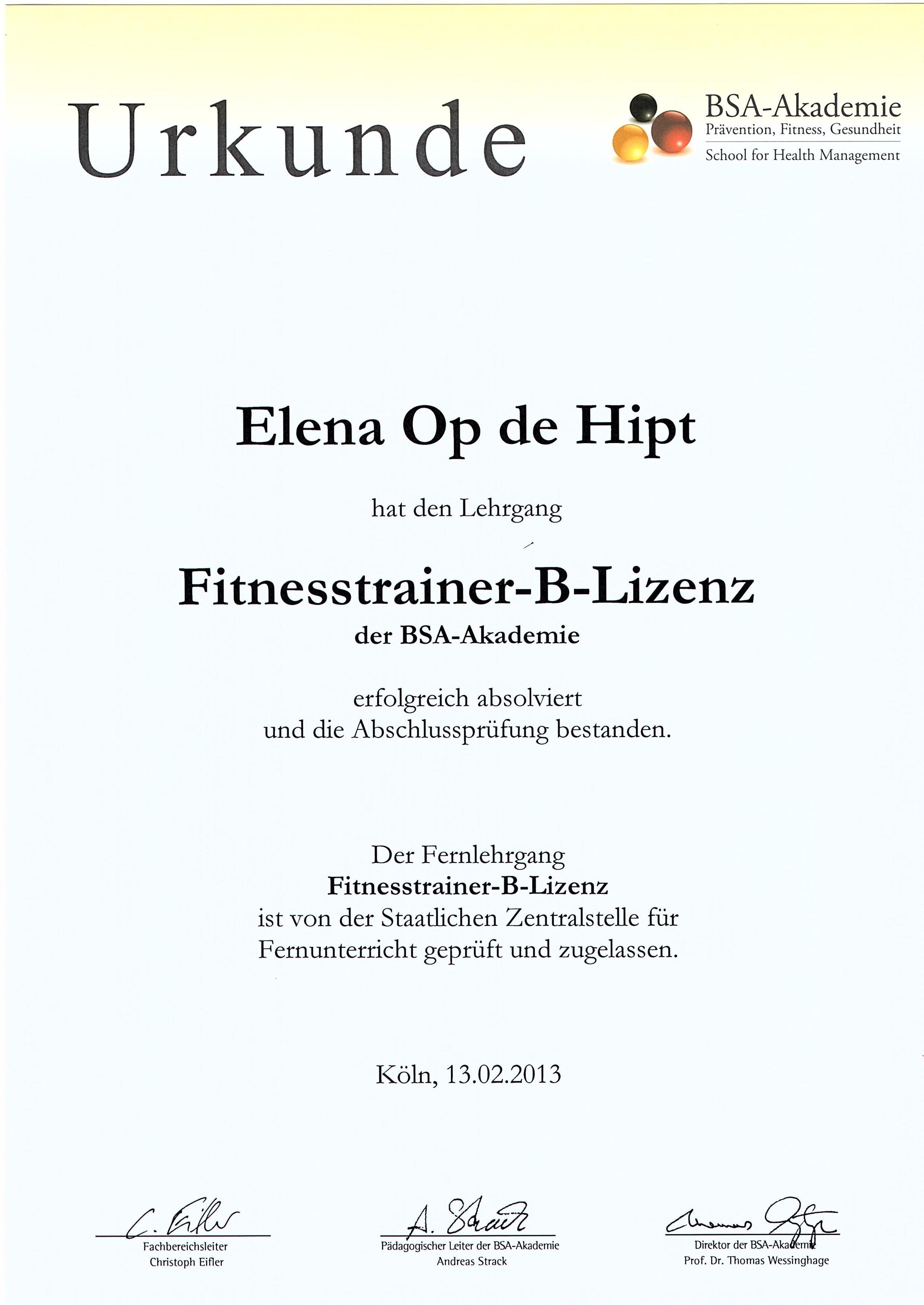 Fitness trainer B-License