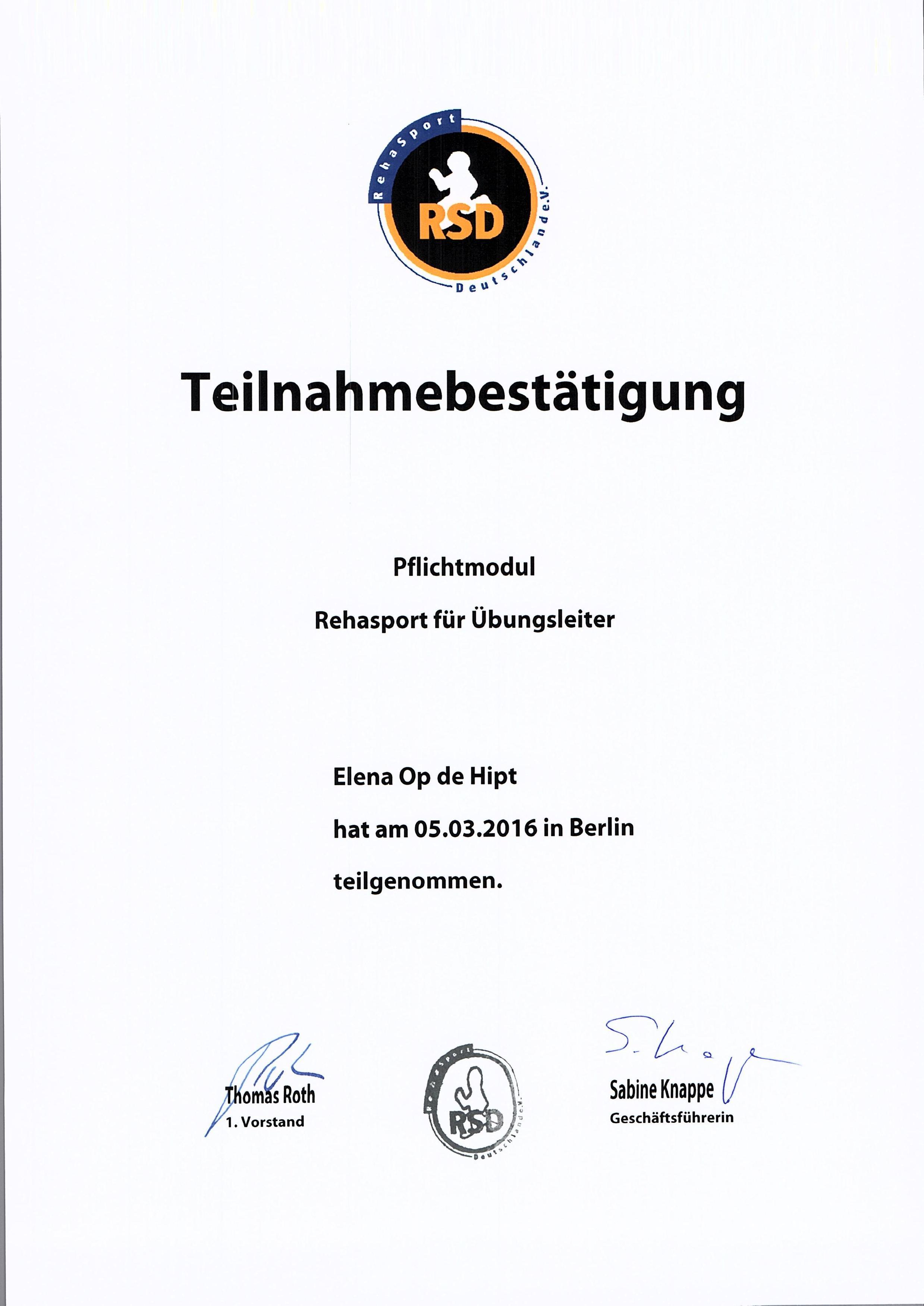 Rehasport trainer Berlin